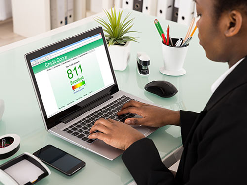 young woman checking her credit score