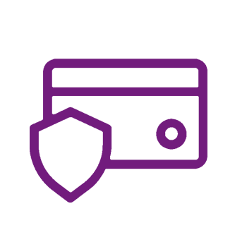 icon of a debit card with a shield over it