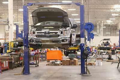 busy car repair shop