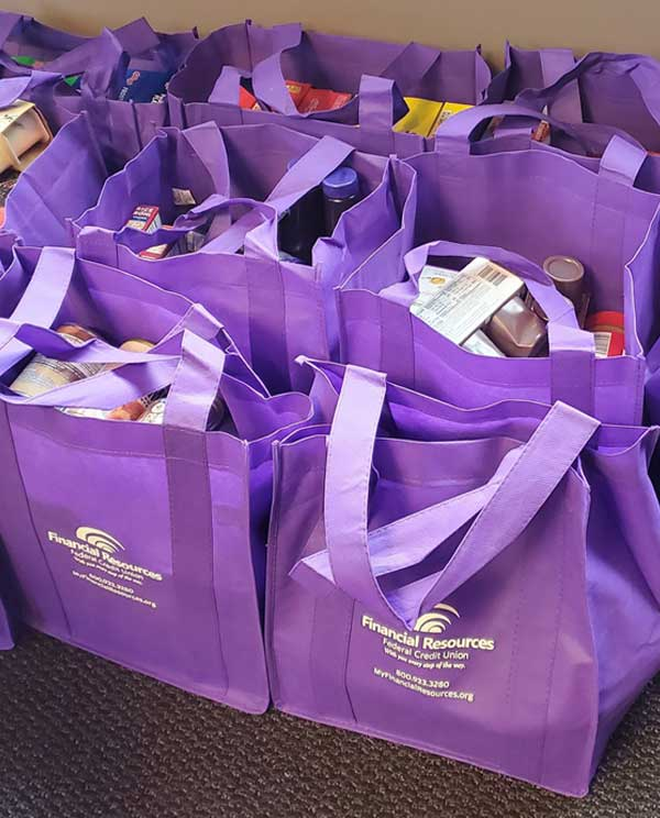 donations in frfcu tote bags