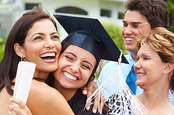 family celebrating a graduation