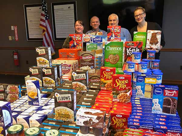 employees with food drive results