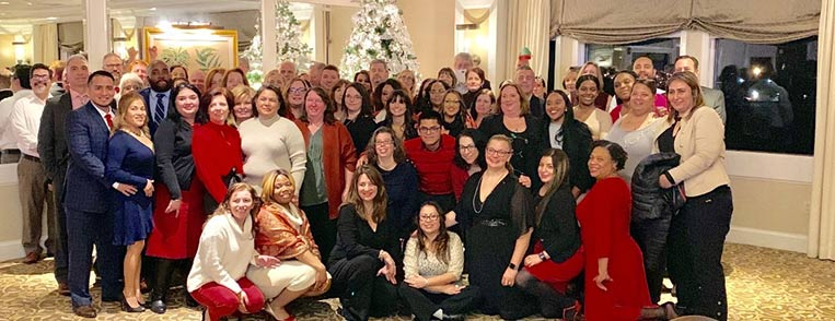 branch employees at a holiday party