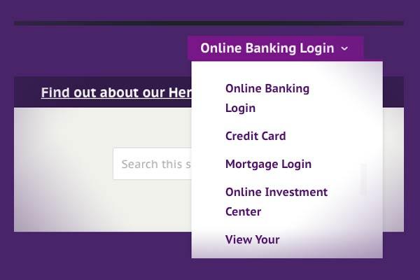 screenshot of the website login