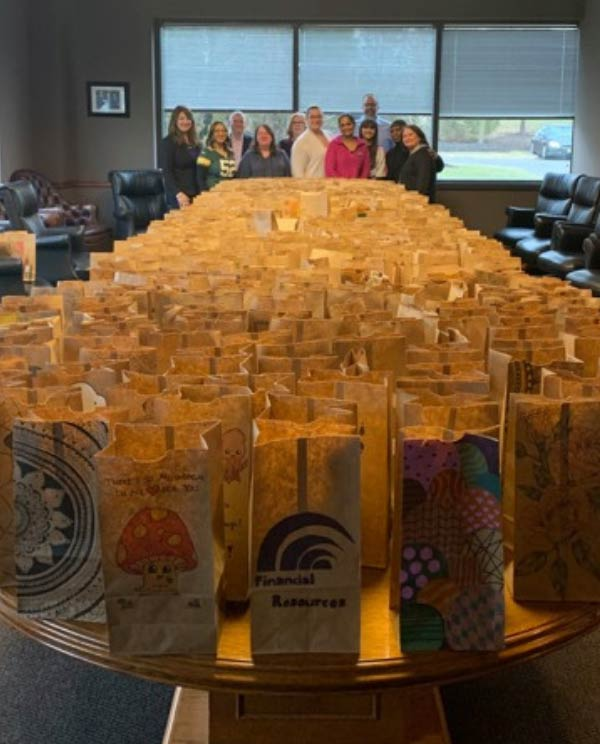 FRFCU employess with decorated bag lunches